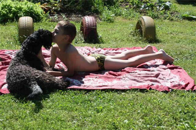 Керри блю терьер с ребенком